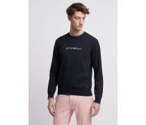 Pullover in Glattstrick aus Reiner Baumwolle mit Emporio Armani Intarsie