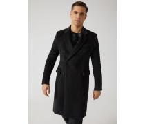 Zweireihiger Mantel aus einer Velours-alpakamischung