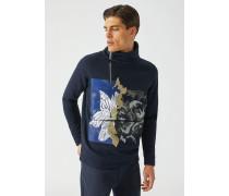 Sweatshirt mit Hohem Kragen mit Reißverschluss und Print Vorne