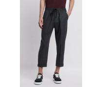 Hose aus Technischer Wolle mit Elastischer Taille und Bundfalten