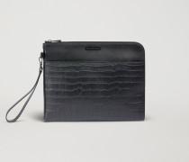 Brieftasche aus Glattleder mit Kroko-prägung