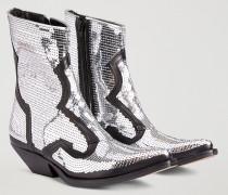 Camperos-stiefel aus Leder mit Paillettenstickerei