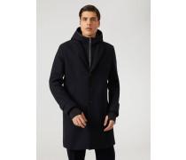 Mantel aus Funktionstuchgewebe mit Kapuze, Reißverschluss-brustlatz und Bündchen