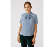 Kurzärmelige Bluse aus Krepp mit Schleife Am Ausschnitt