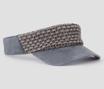 Schirmmütze aus Leder mit Flechtdetail