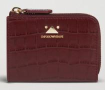 Mini-portemonnaie mit Reißverschluss aus Leder mit Kroko-prägung