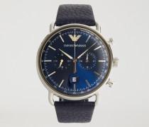 Chronograph Aus Rostfreiem Edelstahl Und Leder 11105