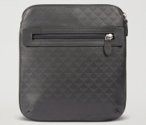 Flache Crossbody Bag Mit Tragriemen Aus Leder Mit All-over-logodruck