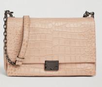 Crossbody Bag aus Leder mit Kroko-prägung