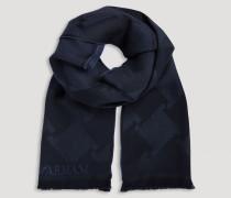 Schal aus Reiner Wolle mit Logo-jacquard