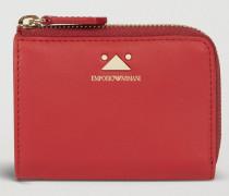 Kleines Portemonnaie aus Leder mit Reißverschluss und Dreieck-detail
