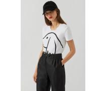T-shirt aus Jersey mit Hündchen-print und Strass-dekoration