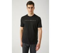T-shirt aus Interlock-baumwolljersey mit Zur Hälfte Sichtbarem Logo