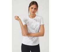T-shirt aus Jersey mit Logo-prints und Adler aus Nieten
