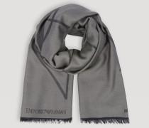 Schal aus Reiner Wolle mit Logostickerei und Ausgefranstem Rand