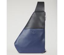 Rucksack Mit Single-träger Aus Zweifarbigem Leder Mit Metalllogo