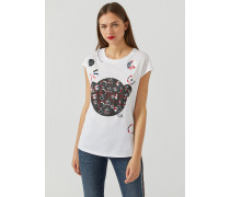 T-shirt Manga Bear mit Abstrakten Prints