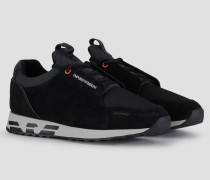 Sneakers aus Veloursleder und Techno-stoff mit Strickeinsatz Am Knöchel