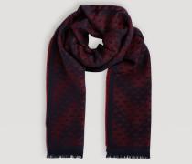Schal aus Wollgemisch mit Gefranstem Saum und Allover-logo