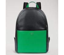 Rucksack Aus Leder Mit Palmellato-prägung Mit Logo An Den Schulterträgern
