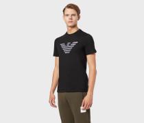 T-shirt Aus Baumwolljersey Mit Adler-print