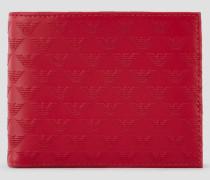 Portemonnaie aus Leder in Allover-print