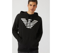 Kapuzensweatshirt mit Metallic-adler