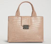 Handtasche Aus Leder Mit Kroko-prägung