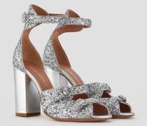 Sandalen aus Glitzerndem Nappa mit Metallischem Absatz