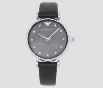 Uhr mit Rundem Kristall-zifferblatt und Lederarmband