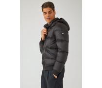 Wattierte Jacke mit Gestepptem Stoff und Strickprofile