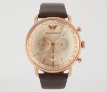Chronograph aus Rostfreiem Edelstahl in Rotgold und Leder 11106
