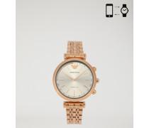Hybrid-smartwatch mit auf dem Zifferblatt Applizierten Brillanten und Strass