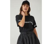 T-shirt aus Geflammtem Jersey mit Slogan in Kontrastfarbe