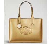 Metallicfarbener Shopper Mit Anhänger Und Logo