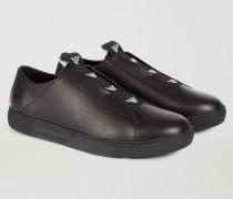 Slip-on Sneakers Aus Nappaleder Mit Kontrastlogo