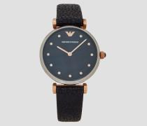 Uhr mit Kristallapplikation und Armband aus Gehämmertem Leder, Gehäuse aus Edelstahl, Krone und Zeiger mit Plattierung in Roségold