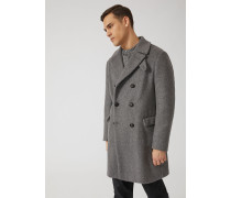 Zweireihiger Mantel aus einer Alpaka-mischung mit Nackenschutz