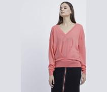 Pullover mit V-ausschnitt und Drapierung Am Vorderteil