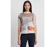 Bluse aus Baumwolle und Seide mit Geometrischem Print