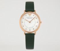 Uhr mit Zifferblatt aus Perlmutt mit Eingefassten Brillanten