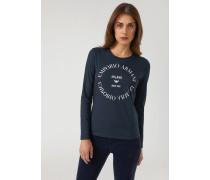 Langärmeliger Pullover mit Kontrastierendem Logo