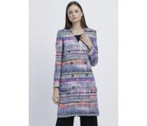 Zweireihiger Mantel aus Mehrfarbigem Tweed