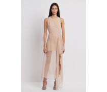 Kleid aus Georgette mit Langem, Drapiertem Rock aus Seidenchiffon