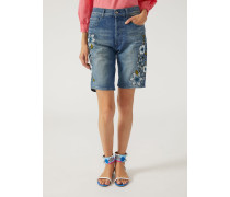 Shorts J39 Aus Stretch-denim Mit Blumen-stickerei