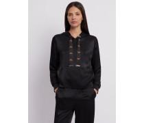 Sweatshirt mit Kapuze aus Satin mit Logo-tunnelzug