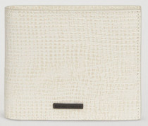 Portemonnaie Aus Leder Mit Jute-musterung