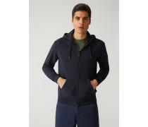 Sweatshirt Aus Baumwollstretch Mit Reißverschluss Und Maxi-print