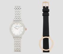 Uhr aus Stahl mit Austauschbaren Armbändern aus Lederarmband und Stahlarmband