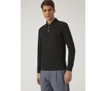 Langärmeliges Poloshirt aus Baumwollpikee